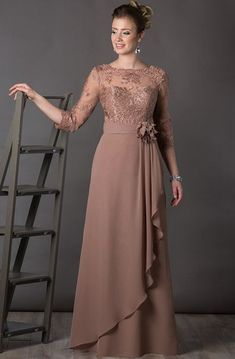 A-Line Bateau-Neck Appliqued Long Chiffon Mother Of The Bride Dress With Flower And Draping - UCenter Dress Mother Of The Bride Dresses Long, Mothers Dresses, Brides Mom Dress, Satin Formal Dress, Formal Dresses, Long Sleeve Gown, Prom Dress Shopping, A Line Gown, Lace Dress