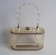 Lucite purses will be carried, and all contents housed inside will be appropriate for all to see. Vintage Purses, Vintage Bags, Vintage Handbags, Vintage Love, Vintage Shoes, Vintage Accessories, Retro Vintage, Vintage Items, Vintage Outfits
