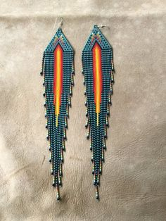 Royalbeier Beaded Earrings Oversized Handmade Seed Beaded Drop Earrings Long Beaded Navajo Indian Dangle Earrings for Women Ladies – Fine Jewelry & Collectibles Seed Bead Jewelry, Seed Bead Earrings, Fringe Earrings, Diy Earrings, Seed Beads, Beaded Earrings Patterns, Seed Bead Patterns, Beading Patterns, Beading Tutorials
