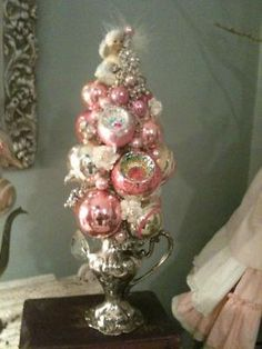 silver water pitcher ornament tree! yowsers!