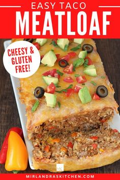 Tacos like you have never had tacos before! This easy dinner combines delicious Mexican flavors into a moist meatloaf with a cheesy top. It is weeknight friendly, taking only 10 minutes to prep. Make it with ground turkey or ground beef for a gluten free, high protein dinner! It can be made as a freezer meal and leftovers heat up well. #tacotuesday #easy #maindish #mexicanfood Easy Chicken Recipes, Beef Recipes, Easy Recipes, Lunch Recipes, Delicious Recipes, Mexican Food Recipes, Ground Turkey, Ground Beef, One Pot Meals