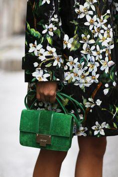 floral dress + green bag
