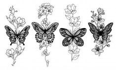 butterfly tattoo meaning ; butterfly tattoo behind ear ; butterfly tattoo on foot Butterfly Sleeve Tattoo, Butterfly With Flowers Tattoo, Butterfly Sketch, Butterfly Tattoo Designs, Flower Tattoos, Floral Tattoo Design, Butterflies, Unique Butterfly Tattoos, Unique Tattoo Designs