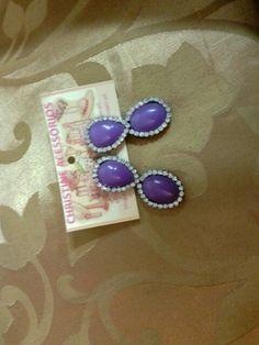 Biju- brinco médio chaton lilás com strass