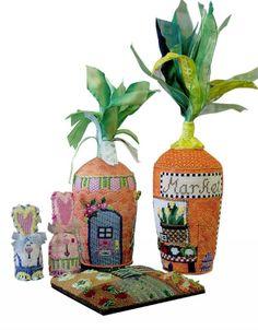 Little Shoppe Canvas Co needlepoint Easter bunnies & carrot houses