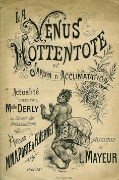 """Henri Sicard (imp.), """"La Vénus Hottentote"""", Jardin zoologique d'acclimatation de Paris, couverture de partition musicale, 1888 © Collection Achac"""