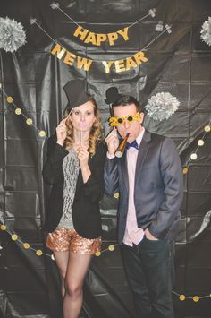 New Year's Eve / photo booth / sequin shorts / NYE / outfit / gold / bow tie