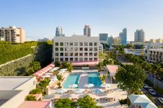 """Pharrell Williams' Goodtime Hotel has a """"reimagined art deco"""" aesthetic. Pharrell Williams, Wes Anderson, Mykonos, South Beach Hotels, Estilo Art Deco, Natural Swimming Pools, Outdoor Restaurant, New South, Acapulco"""