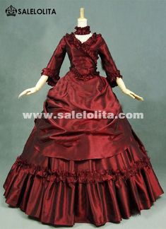 Brand New Red Gothic Victorian Dresses French Bustle Period Ball Gowns  Reenactment Halloween Costumes d8b5f72eb50a