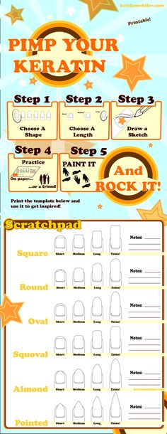 A  cute nail template that you can use to brainstorm ideas for your next nail painting session.  It's scaled to print on two pages, so go ahead and click to open the PDF!