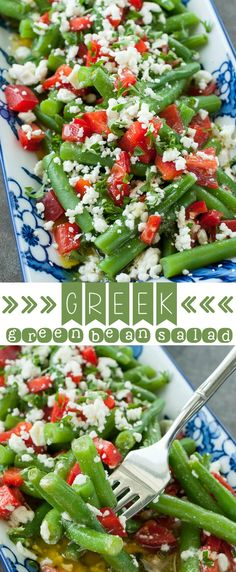 Greek Green Bean Salad :: This gorgeous salad is fresh, flavorful, and ridiculously easy to make! As a tasty bonus, it's ready in just 15 minutes!