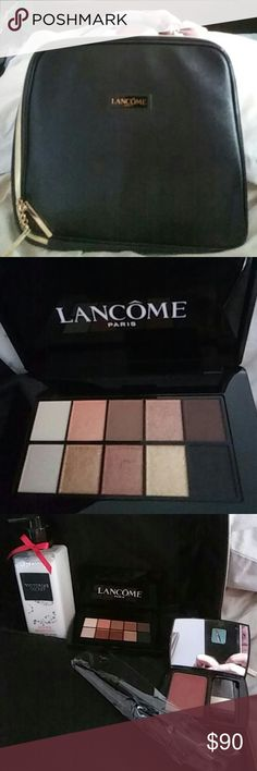 "Lancome Train Kit with Eye Palette, Blush, & Extra This black Lancome Train kit measures 11""h X 12""W X 3""D. There are 2 zippers so the face opens completely. Inside there is an eye palette in warm tones, a blush (290 Bronze Blush)full size with a Lancome blush brush still in plastic, never opened! Plus an extra ??! A full size, never opened bottle of VS lotion Winter Bombshell! I have the perfume, but it's only half full. I'd be happy to include it as a free gift, but I just can't charge for…"