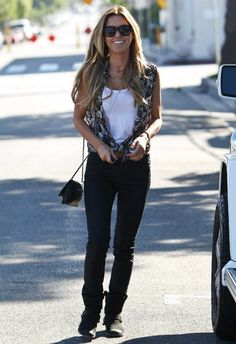 Audrina Patridge wearing Chanel Wallet On Chain Quilted Bag Maison Martin Margiela 22 Distressed Motorcycle Boot