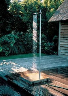 Outdoor shower: note the shower head solution.
