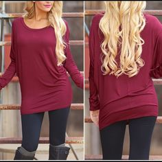 1 small left❗️Dolman Tunic Tops in burgundy Please DO NOT buy this listing...comment size and I will create a listing. 95% rayon 5% spandex.                                                                    Rayon jersey top with dolman sleeves in                    Burgundy....Price is firm unless bundled. Tops