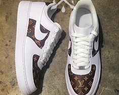 new styles 9427f 3d891 Nike Louis Vuitton LV Air Force 1 One Low Luxury Designer Custom Mens  White Sneaker Air