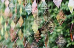 colourful, diamond-shaped lucite escort cards