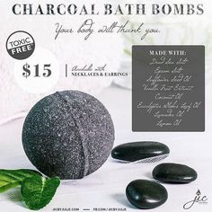 JIC now has BATH BOMBS! And include your choice of a necklace or earrings.   Made with charcoal dead sea salt Epsom salt sunflower seed oil vanilla fruit extract coconut oil eucalyptus globus leaf oil lavender oil and lemon oil.  http://ift.tt/2dfnfk4 (link in bio)  Available at 4pm PST Thursday October 13th.  #jicbyjulie #bathbombs #charcoal #epsomsalt #coconutoil #toxicfree #detox #eucalyptus