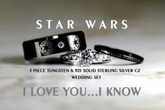 These Are the Ultimate Wedding Rings for Hardcore Movie Geeks! - Star Wars Jewellery - Fashionable Star Wars Jewellery - - These Are the Ultimate Wedding Rings for Hardcore Movie Geeks! Star Wars Schmuck, Theme Star Wars, Wedding Vows To Husband, Star Wars Jewelry, Star Wars Wedding, Geeks, Star Wars Gifts, Wedding Band Sets, Geek Wedding Rings
