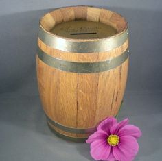 Vintage Wood Barrel Coin Savings Bank by BadCatBoutique on Etsy, $30.00