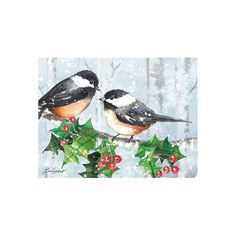 The Serene Forest Classic Christmas Cards by LANG are an elegant way to send season's greetings to your loved ones. Featuring artwork by Lori Siebert of two chickadees perched on a branch of holly, you'll get 12 linen embossed cards with full-color artwork inside and out, and 13 matching envelopes! Pattern: Bird. Boxed Christmas Cards, Christmas Bird, Homemade Christmas Cards, Christmas Colors, Xmas Cards, Handmade Christmas, Vintage Christmas, Christmas Crafts, Greeting Cards