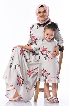 Mother & Daughter Combined Dress Grey Fabric, Woven Fabric, Fabric Patterns, Daughter, Long Sleeve, Model, Sleeves, Cotton, How To Wear