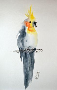 Watercolor Cockatiel by Tyleen.deviantart.com on @DeviantArt