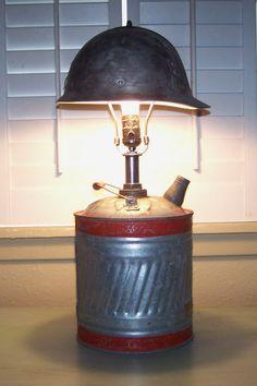 Kerosene gas can and metal helmet lamp/ J Dooley
