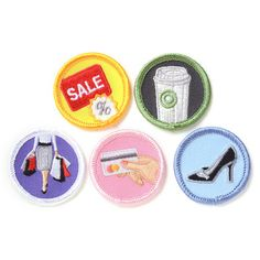 Shopaholic Badges.