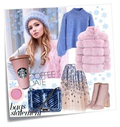"""Winter is here❄"" by inna-matlo ❤ liked on Polyvore featuring Post-It, Chicwish, Laurence Dacade, AERIN, Lancôme, Rebecca Minkoff, CoffeeDate and statementbags"