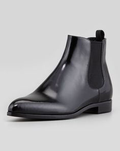 Leather+Pointy+Toe+Chelsea+Boot,+Black++by+Prada+at+Neiman+Marcus.