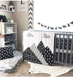 Mountain Baby Blanket Woodland Nursery Crib Quilt