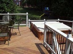 Shown here is an example of how a hot tub can be attractively integrated within an deck design. The project includes a deck area constructed specifically to support the weight of a hot tub and includes wide deck steps for convenient access. Ground Level Deck, How To Level Ground, Spa Design, Patio Design, Design Ideas, Outdoor Spaces, Outdoor Living, Outdoor Decor, Deck Steps