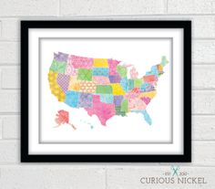 United States Colorful Collage Art Print by TheCuriousNickel, $15.00