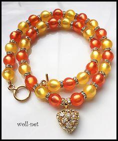 """Kette-Polaris,orange,topas,Herz,glänzend """"MINHA"""" von woll-net auf DaWanda.com"""