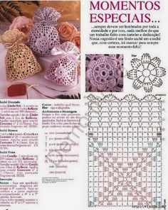 tons of free crochet patterns for lavender sachets (french site) includes charts Many sachet bags, crochet Great for party favors, fill with almonds for a wedding, etc. Bildergebnis für souvenirs to crochet wedding The place where construction meets des Crochet Diy, Filet Crochet, Crochet Sachet, Crochet Drawstring Bag, Crochet Motifs, Crochet Diagram, Crochet Chart, Crochet Home, Crochet Doilies