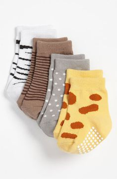 SUCH a splurge!... Would be cute for a photo shoot. Baby Aspen 'Sock Safari' Socks (4-Pack) (Infant) | Nordstrom