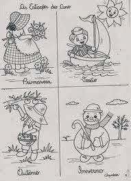 Baú da Web: Desenhos Estações do Ano para imprimir e colorir Four Seasons Art, Classroom, Math, Comics, How To Make, Joan Miro, Houses, Seasons Activities, Creative Activities