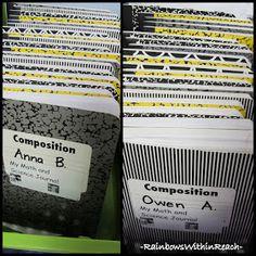photo of: Math and Science Journals in Kindergarten Organized Alphabetically (Organizational RoundUP via RainbowsWIthinReach)