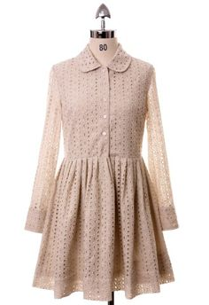 Beige Cut Out Pleated Dress- It's like Little House on the Prairie meets Louis Vuitton