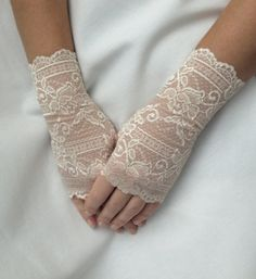 Bridal Gloves Wedding Gloves NudeBeige Gloves by VANAGScreative, $20.00