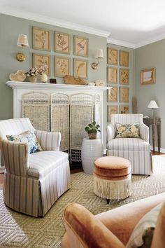 16 Calming Paint Colors to Soothe Your Southern Home | Give your home an earthy tone by going with a pale green. It makes a more interesting backdrop when decorating with a mix of neutrals. #decorideas #homedecor #southernliving