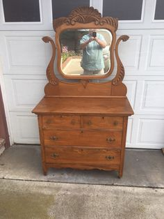 Beautiful professionally refinished Solid oak Dresser with mirror! In Very nice condition overall! Local pick up only unless you make all the shipping arrangements , pay and have it picked up here by the shipper! Antique Dresser With Mirror, Oak Dresser, Antique Dressers, Antique Furniture, Painted Furniture, Luxury Bedroom Furniture, Golden Oak, Old Wood, Luxurious Bedrooms