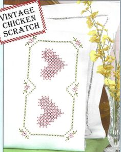 Jack Dempsey Chicken Scratch Hearts Perle Edge Pillowcases Stamped for Cross Stitch & Embroidery Chicken Scratch, Pillowcases, Cross Stitch Embroidery, Quilt Blocks, Needlework, Hearts, Stamp, Quilts, Vintage