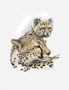 "Guy Coheleach - probably Gouache? ""Cheetah & Cub"" 15"" x 18"" -PORTRAITS OF THE BIG CATS"
