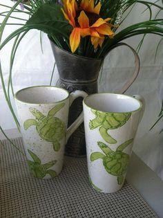 Mug Sea Turtle Mug Green Sea Turtle Handmade by SaraHunterDesigns, $28.00