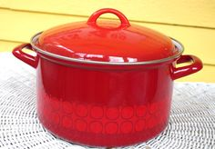 Gorgeous Vintage Mid Century Modern Red Enamel Stock Pot with Lid by retrowarehouse on Etsy
