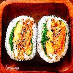 Omurice, Onigirazu, Sushi Cake, Kimbap, Rice Balls, Lunch Box, Bento Box, Japanese Food, I Foods
