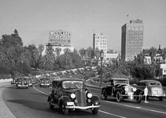 Wilshire Boulevard with Westlake Theater in 1938. Los Angeles, C.A.