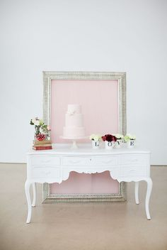This is beautiful simplicity! Vintage cake display by Hey Gorgeous Events, photo by @Elizabeth Lockhart Kaye